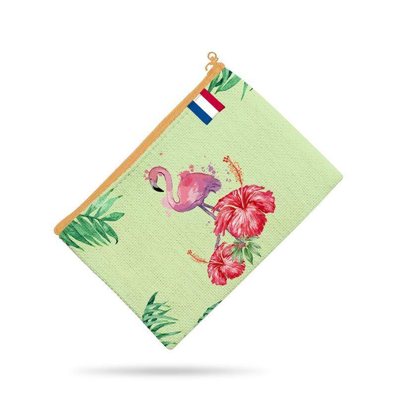 Kit pochette vert motif fruit tropical
