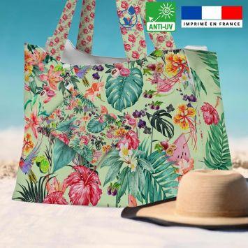 Kit sac de plage imperméable blanc motif fruit tropical - King size