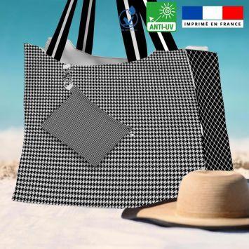 Kit sac de plage imperméable motif pied de poule - Queen size