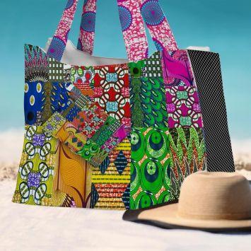 Kit sac de plage imperméable motif wax patchwork - Queen size
