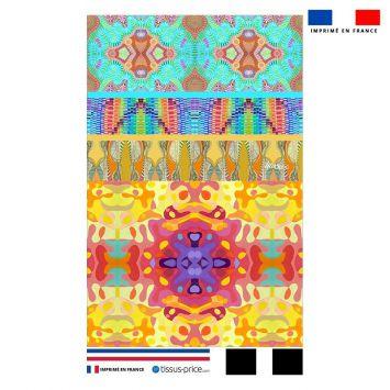 Kit pochette motif summer jaune et rose - Création Lita Blanc
