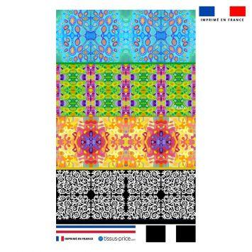 Kit pochette motif bandes colorées - Création Lita Blanc