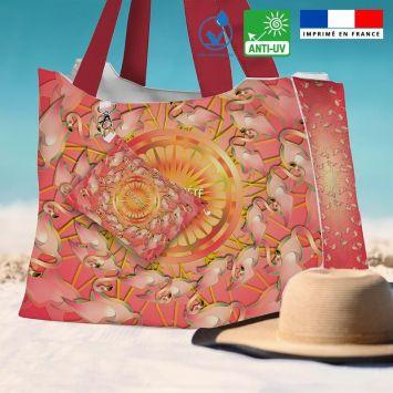 Kit sac de plage imperméable rose motif flamant rêve d'été - Queen size - Création Lita Blanc