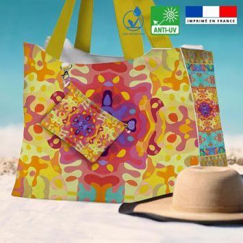 Kit sac de plage imperméable motif summer jaune et rose - King size - Création Lita Blanc