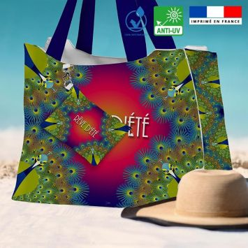Kit sac de plage imperméable motif paon rêve d'été - King size - Création Lita Blanc