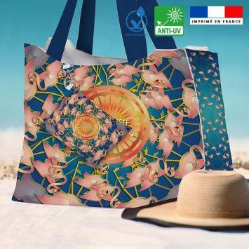 Kit sac de plage imperméable bleu motif flamant rêve d'été - Queen size - Création Lita Blanc