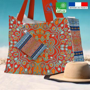 Kit sac de plage imperméable motif rayures abstraites bleues et rouges - Queen size - Création Lita Blanc
