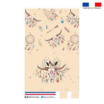 Kit pochette beige motif boho crâne de taureau