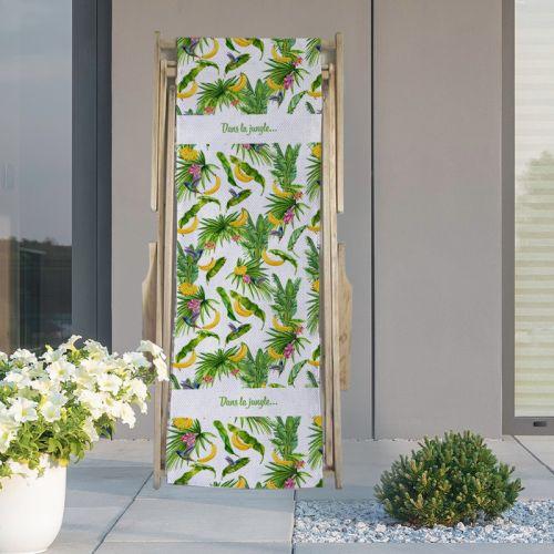 Coupon 45x150 cm tissu imperméable blanc motif banane jungle pour transat