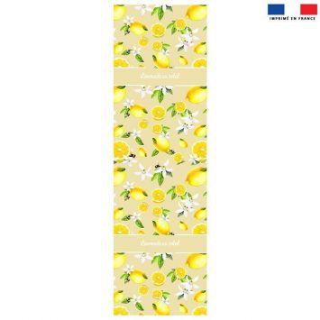 Coupon 45x150 cm tissu imperméable beige motif Limonade au soleil et citron pour transat