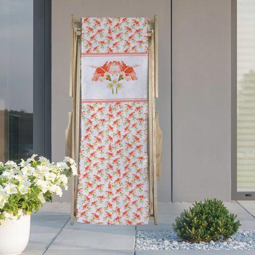 Coupon 45x150 cm tissu imperméable motif fleur d'hibiscus pour transat