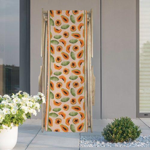 Coupon 45x150 cm tissu imperméable pêche motif papaye pour transat
