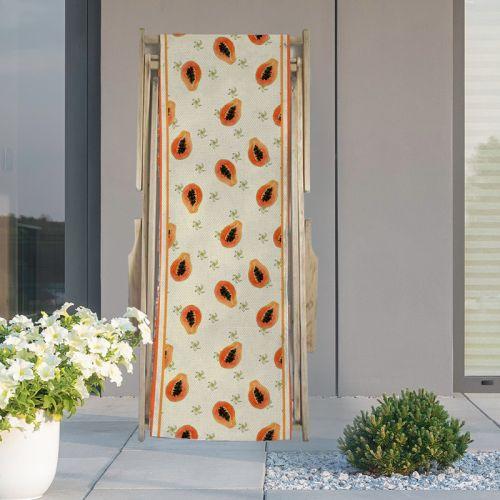 Coupon 45x150 cm tissu imperméable beige motif papaye et fleur de papayer pour transat