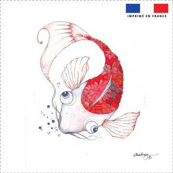 Coupon toile canvas carpe rouge - Audrey Baudo