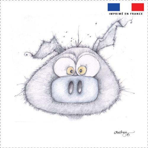 Coupon toile canvas cochon gris - Création Audrey Baudo