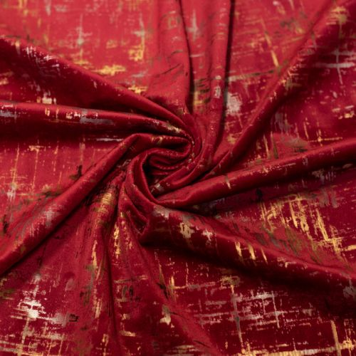Tissu velours frappé Astral rouge Oeko-tex