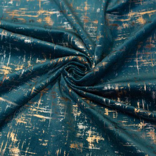 Tissu velours frappé Astral bleu canard Oeko-tex