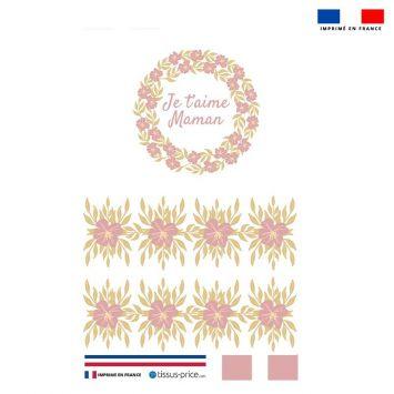 Kit pochette rose motif je t'aime maman
