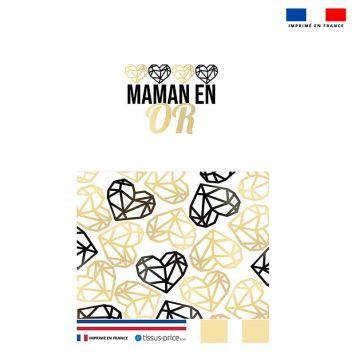 Kit pochette noire motif maman en or et coeur géométrique