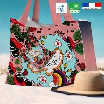 Kit sac de plage imperméable rose motif la vie est belle - King size - Création Anne-Sophie Dozoul