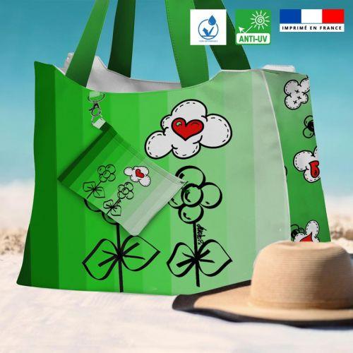 Kit sac de plage imperméable vert motif une fleur à ma mère - King size - Création Anne-Sophie Dozoul