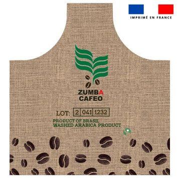 Patron imprimé sur canvas pour tablier motif zumba cafeo