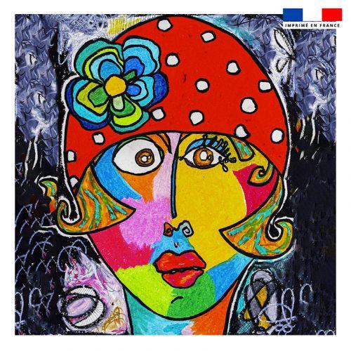 Coupon 45x45 cm motif femme moderne et fleur colorée - Création Razowsky
