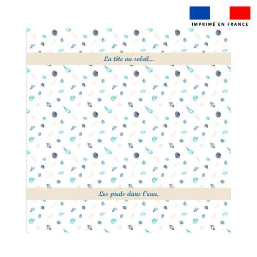 Coupon éponge pour serviette de plage double motif coquillages