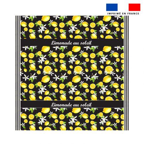 Coupon éponge pour serviette de plage double noir motif citron