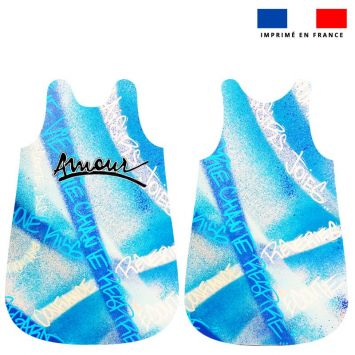 Coupon pour gigoteuse motif graffiti bleu - Création Alex Z