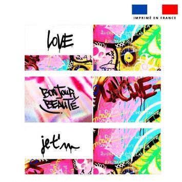 Coupon velours d'habillement pour tour de lit motif graffiti rose - Création Alex Z