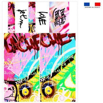 Coupon velours d'habillement pour vide-poches motif graffiti rose - Création Alex Z