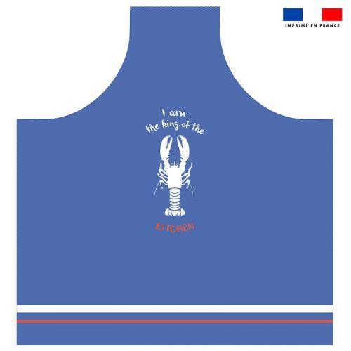 Patron imprimé sur canvas pour tablier bleu motif king homard
