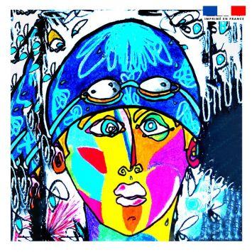 Coupon 45x45 cm motif femme moderne et bonnet bleu - Création Razowsky