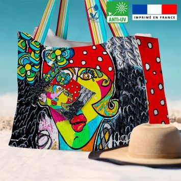 Kit sac de plage imperméable motif femme moderne et fleur colorée - Queen size - Création Razowsky