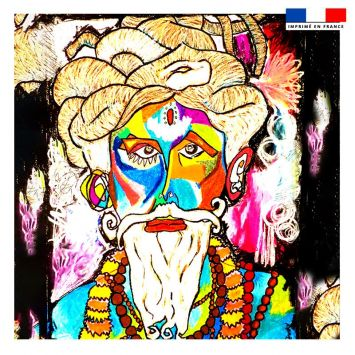 Coupon 45x45 cm motif homme et sagesse - Création Razowsky