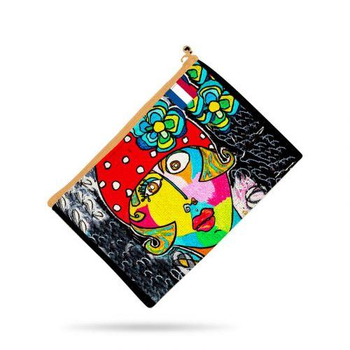 Kit pochette motif femme moderne et fleur colorée - Création Razowsky