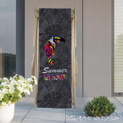 Coupon 45x150 cm tissu imperméable motif toucan multicolore et feuille tropicale pour transat