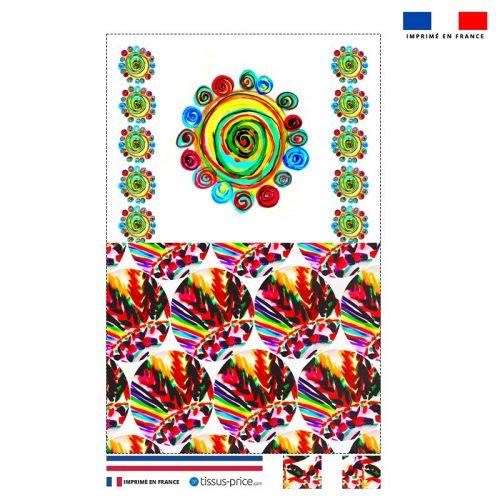 Kit pochette motif cercles multicolores - Création Jeanne Garreau