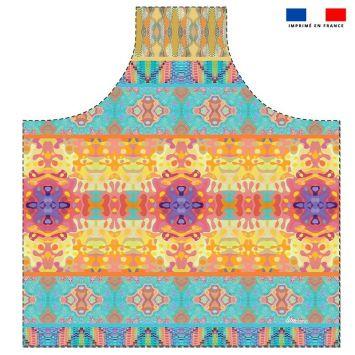 Patron imprimé sur canvas pour tablier motif summer jaune et rose - Création Lita Blanc