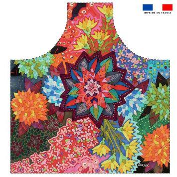 Patron imprimé sur canvas pour tablier motif champs de fleurs géométriques - Création Lita Blanc