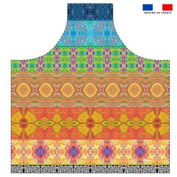 Patron imprimé sur canvas pour tablier motif bandes colorées - Création Lita Blanc