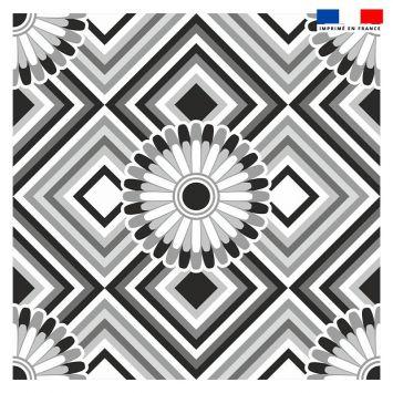 Coupon 45x45 cm motif rosace noire et blanche - Création Lita Blanc