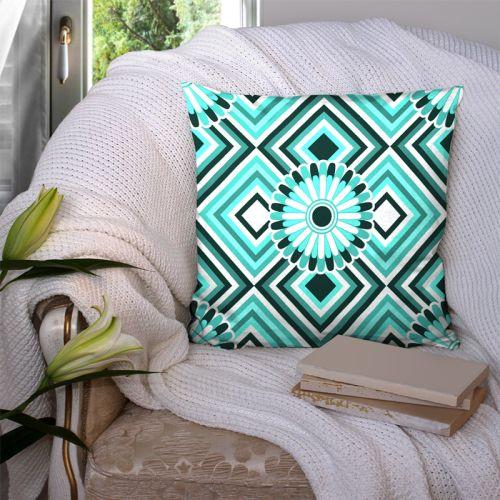 Coupon 45x45 cm motif rosace turquoise - Création Lita Blanc