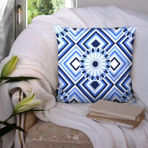 Coupon 45x45 cm motif rosace bleu marine - Création Lita Blanc
