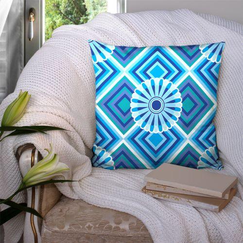 Coupon 45x45 cm motif rosace bleu azur - Création Lita Blanc