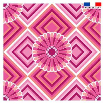 Coupon 45x45 cm motif rosace rose - Création Lita Blanc