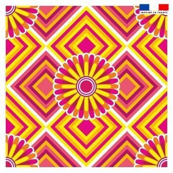 Coupon 45x45 cm motif rosace jaune et rose - Création Lita Blanc