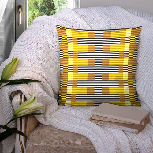 Coupon 45x45 cm motif rayé jaune - Création Lita Blanc