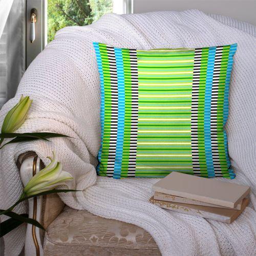 Coupon 45x45 cm motif rayures vertes - Création Lita Blanc